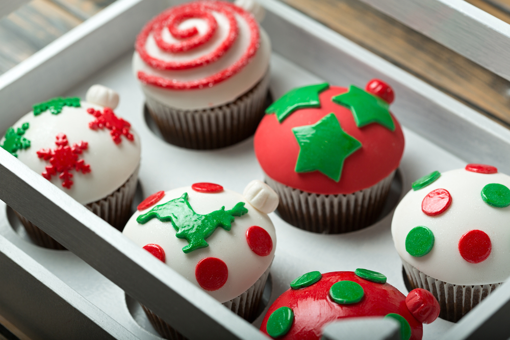 christmas decorated chocolate cupcakes